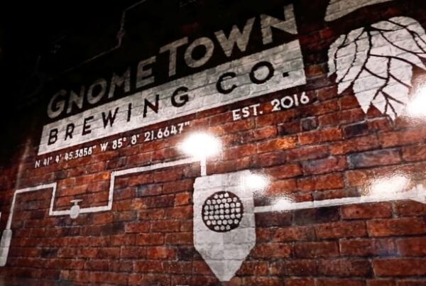 Gnometown Brewing Co. logo on a brick wall