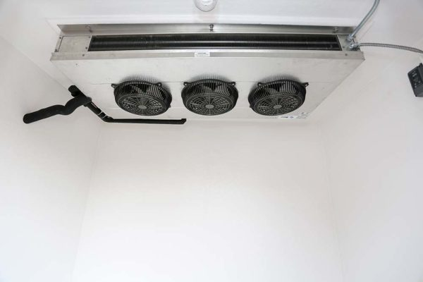 Black fans on a white ceiling of a Polar King commercial freezer unit