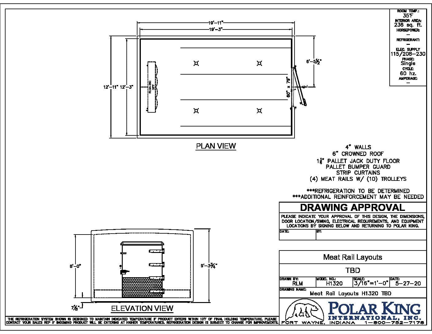 Meat Processing Cooler Blueprint in Black and White 1320
