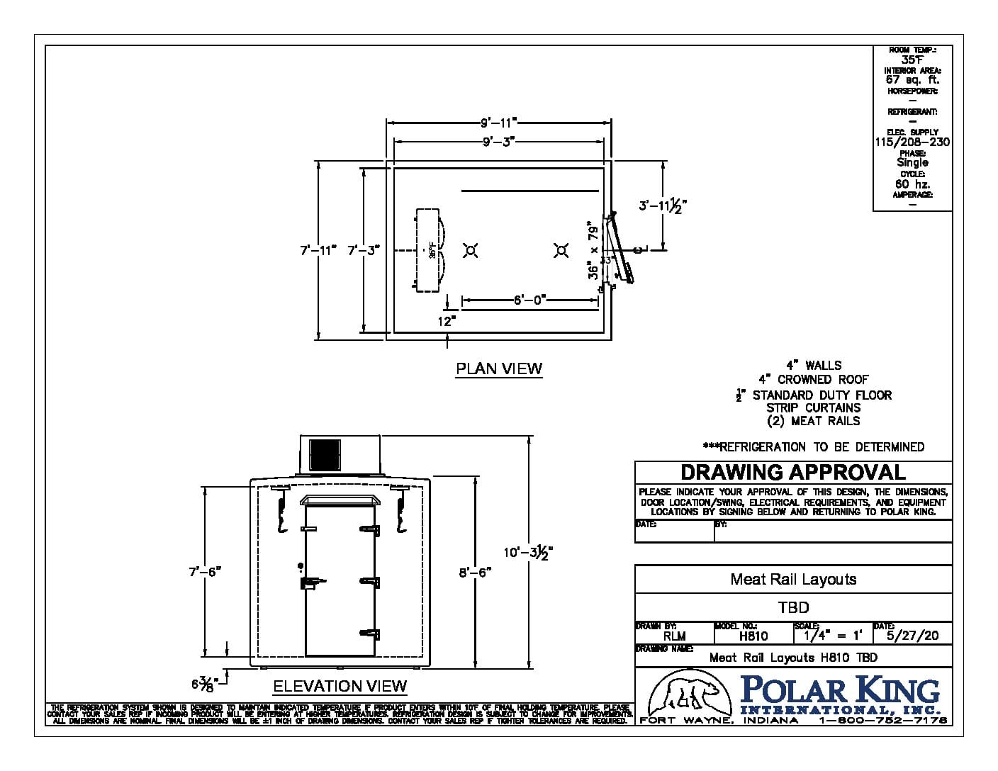 Meat Processing Freezer Walkin 810 Black and White Layout