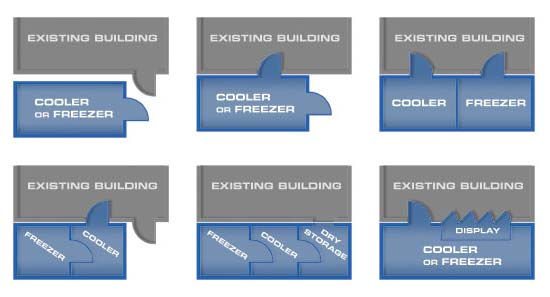 Blue and grey layout of refrigeration units