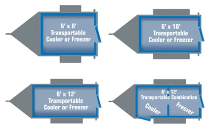 Trailer layout in blue and grey