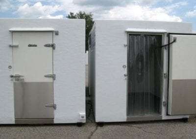 Commercial freezer rental units one with door open and one with door closed