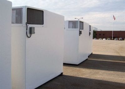 Emergency refrigeration polar leasing units outside on concrete