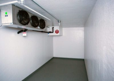 White inside of a Polar Leasing reefer container rental